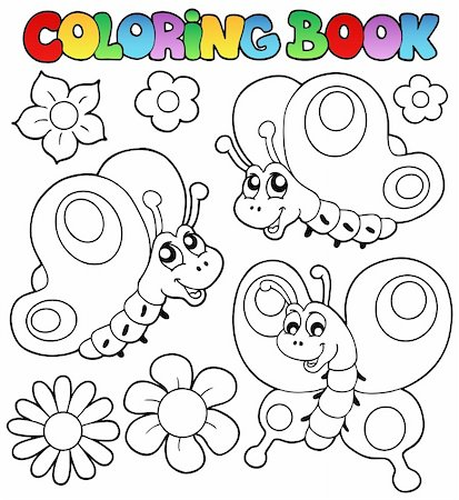 Coloring book three butterflies - vector illustration. Stock Photo - Budget Royalty-Free & Subscription, Code: 400-05377344
