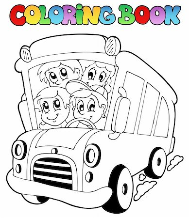 Coloring book with bus and children - vector illustration. Stock Photo - Budget Royalty-Free & Subscription, Code: 400-05377346