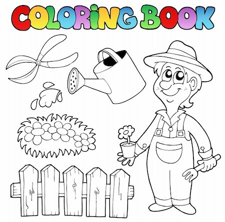 flower clipart paint - Coloring book with garden topic - vector illustration. Stock Photo - Budget Royalty-Free & Subscription, Code: 400-05377351