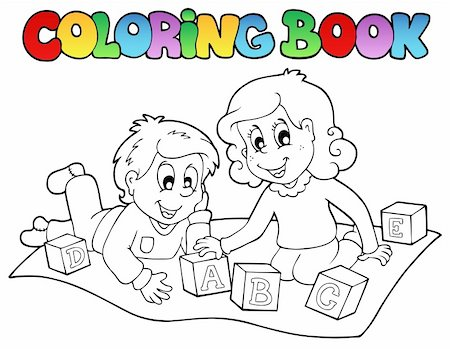 Coloring book with kids and bricks - vector illustration. Stock Photo - Budget Royalty-Free & Subscription, Code: 400-05377432