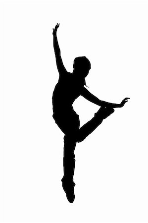 silhouette musical symbols - street dancer silhouette on white background Stock Photo - Budget Royalty-Free & Subscription, Code: 400-05378340