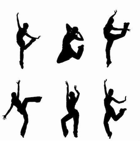 silhouette musical symbols - silhouettes of street dancers on a white background Stock Photo - Budget Royalty-Free & Subscription, Code: 400-05378342