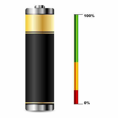 scalable - Black battery with charge level graphic over white Stock Photo - Budget Royalty-Free & Subscription, Code: 400-05379071