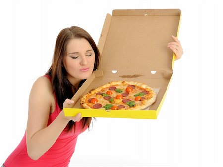 fat italian woman - Pretty young casual woman with tasty pizza in delivery paper box. isolated on white background Stock Photo - Budget Royalty-Free & Subscription, Code: 400-05379385