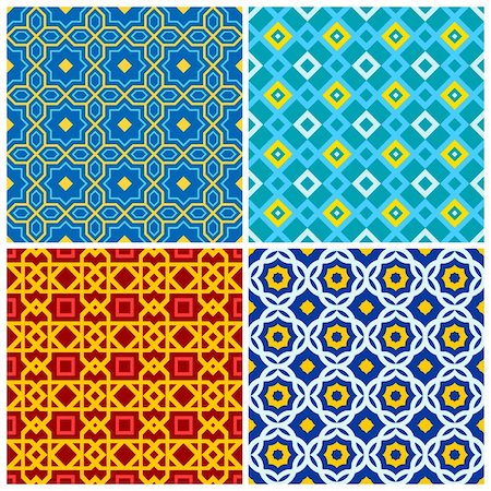 funky flower designs - Four bright, colorful seamless geometric patterns Stock Photo - Budget Royalty-Free & Subscription, Code: 400-05370516