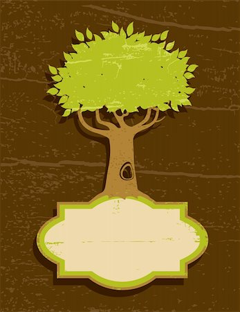 Vintage illustration of a tree with green foliage Stock Photo - Budget Royalty-Free & Subscription, Code: 400-05370519