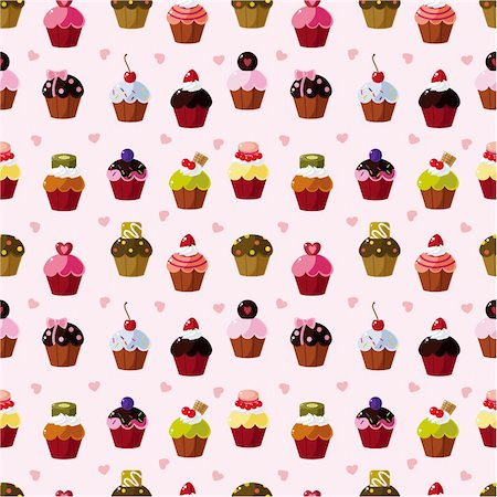 seamless cake pattern Stock Photo - Budget Royalty-Free & Subscription, Code: 400-05370799