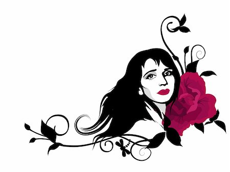 Stylish clipart with beautiful girl face, swirls and red rose flower. Stock Photo - Budget Royalty-Free & Subscription, Code: 400-05370951