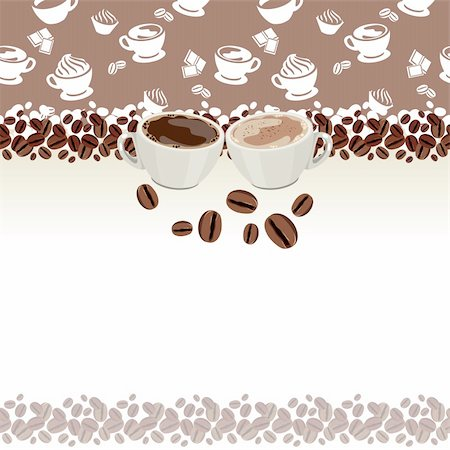 Pretty greeting card with two cups of coffee and coffee beans Stock Photo - Budget Royalty-Free & Subscription, Code: 400-05371005