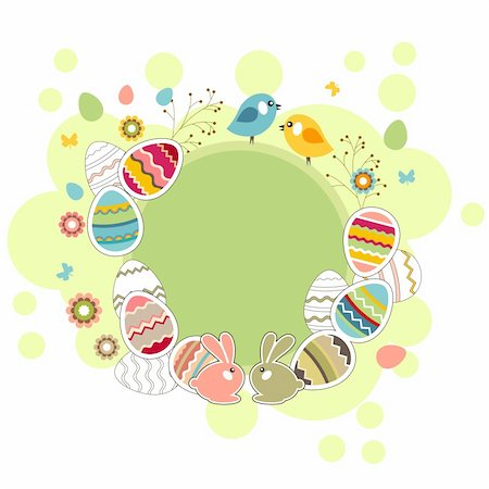 Easter light green frame with eggs and rabbits Stock Photo - Budget Royalty-Free & Subscription, Code: 400-05371253