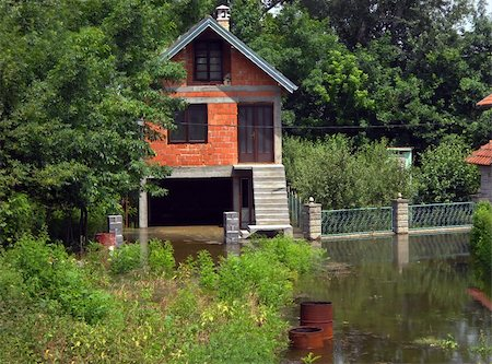 flooded homes - house surrounded by water at spring at Serbia Stock Photo - Budget Royalty-Free & Subscription, Code: 400-05371381