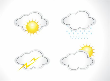 abstract weather icons set vector illustration Stock Photo - Budget Royalty-Free & Subscription, Code: 400-05371782
