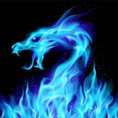 Abstract blue fiery dragon. Illustration number two on black background for design Stock Photo - Budget Royalty-Free & Subscription, Code: 400-05371851