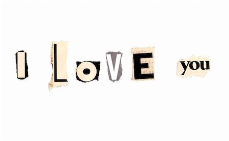 I love you written with newspaper and magazine clippings Stock Photo - Budget Royalty-Free & Subscription, Code: 400-05372897