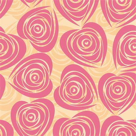 Pink art vector heart, rose pattern. Seamless flower background pattern. Fabric texture. Floral vintage design. Pretty cute wallpaper. Romantic cartoon feminine filigree tile. Stock Photo - Budget Royalty-Free & Subscription, Code: 400-05373051