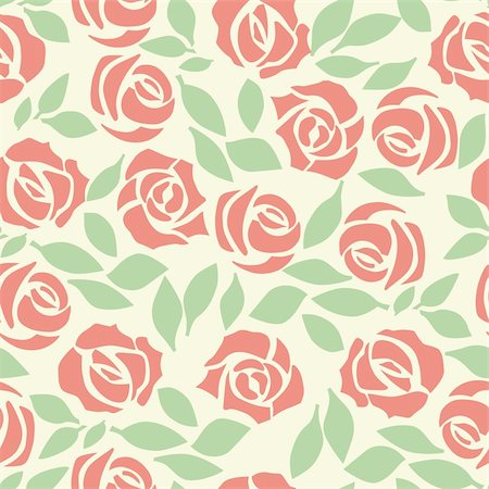 Vector rose seamless flower background pattern, floral fabric vintage wallpaper. Cute backdrop. Stock Photo - Budget Royalty-Free & Subscription, Code: 400-05373052