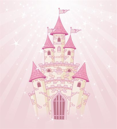 Illustration of a Fairy Tale princess pink castle on radial background Stock Photo - Budget Royalty-Free & Subscription, Code: 400-05373743