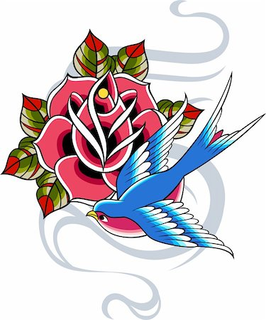 sparrow tattoo Stock Photo - Budget Royalty-Free & Subscription, Code: 400-05384006