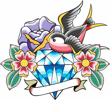 sparrow tattoo Stock Photo - Budget Royalty-Free & Subscription, Code: 400-05384011