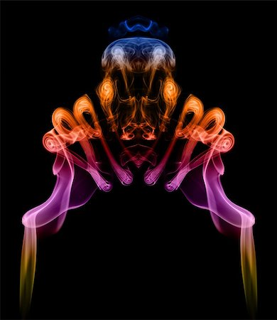 Symmetric colorful pattern created with smoke, it can be used well as an abstract background or blend. Stock Photo - Budget Royalty-Free & Subscription, Code: 400-05384054