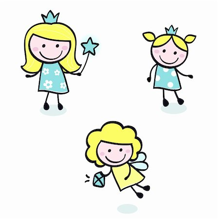 Smiling cute princess girls - vector cartoon Illustration. Stock Photo - Budget Royalty-Free & Subscription, Code: 400-05384065