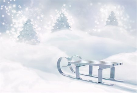 sparks with white background - Frozen sledge in the magic forest made of Christmas trees candles. Stock Photo - Budget Royalty-Free & Subscription, Code: 400-05384517