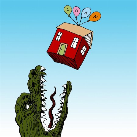 An image of a house floating above a hungry monster. Stock Photo - Budget Royalty-Free & Subscription, Code: 400-05385038