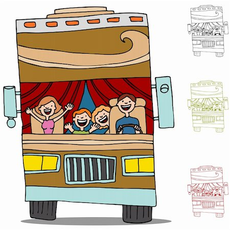 An image of a family on a road trip in an rv recreational vehicle. Stock Photo - Budget Royalty-Free & Subscription, Code: 400-05385133