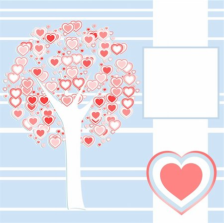 simsearch:400-04863562,k - stylized love tree made of many red hearts background Stock Photo - Budget Royalty-Free & Subscription, Code: 400-05386274