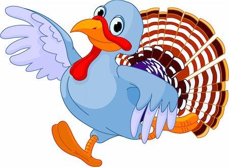 Cartoon turkey running, isolated on white background Stock Photo - Budget Royalty-Free & Subscription, Code: 400-05386328