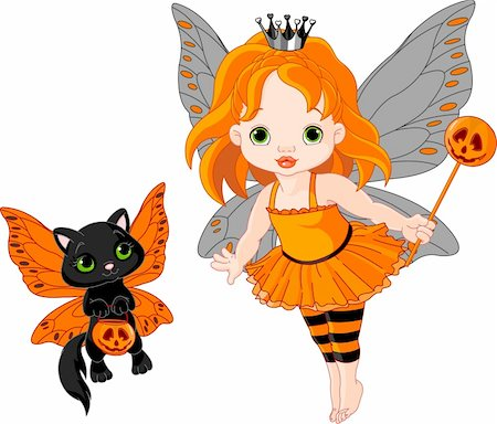 pretty in black clipart - Illustration of Halloween baby fairy and her cat Stock Photo - Budget Royalty-Free & Subscription, Code: 400-05386321