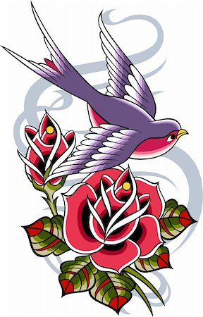 bird and rose banner Stock Photo - Budget Royalty-Free & Subscription, Code: 400-05386475
