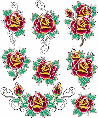 rose tattoo design Stock Photo - Budget Royalty-Free & Subscription, Code: 400-05386477