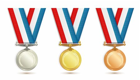 scalable - Set of gold, silver and bronze medals with ribbon over white background Stock Photo - Budget Royalty-Free & Subscription, Code: 400-05386592