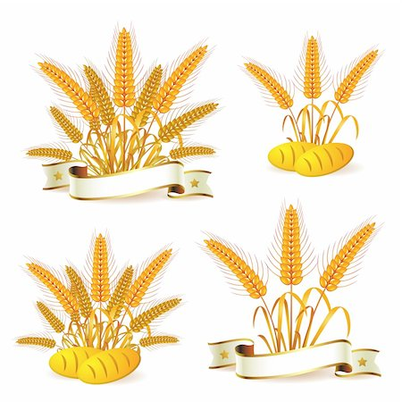Wheat ears with ribbon and bread Stock Photo - Budget Royalty-Free & Subscription, Code: 400-05386609