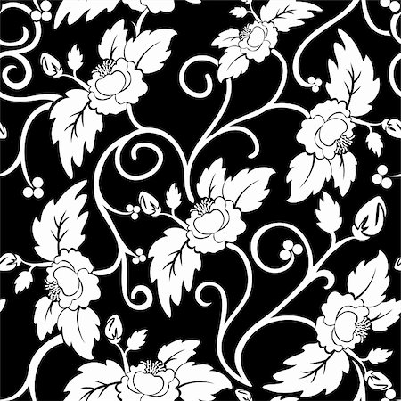 black seamless background with curly white flowers Stock Photo - Budget Royalty-Free & Subscription, Code: 400-05386633