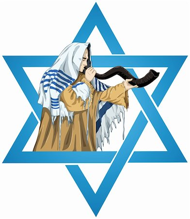 A vector illustration of a Rabbi with Talit blows the shofar with the star of David for the Jewish holiday Yom Kippur. Stock Photo - Budget Royalty-Free & Subscription, Code: 400-05387519