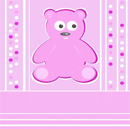 simsearch:400-04598294,k - Cute Teddy Bear girl pink background greeting card Stock Photo - Budget Royalty-Free & Subscription, Code: 400-05387534