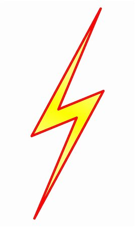 Yellow lightning symbol with red contour Stock Photo - Budget Royalty-Free & Subscription, Code: 400-05387586