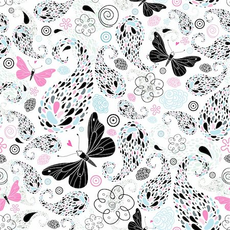 fly heart - Graphical abstract seamless pattern with black and pink butterflies on a white background Stock Photo - Budget Royalty-Free & Subscription, Code: 400-05387610