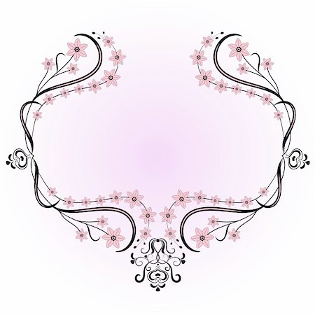 Gentle vintage frame with flowers on pink background (vector) Stock Photo - Budget Royalty-Free & Subscription, Code: 400-05388453