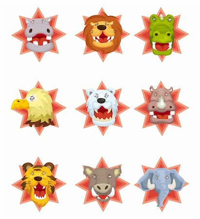 roar lion head picture - cartoon angry animal head icons Stock Photo - Budget Royalty-Free & Subscription, Code: 400-05388629
