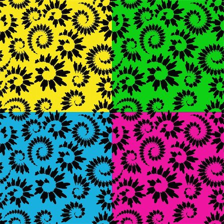 four vector abstract seamless floral backgrounds Stock Photo - Budget Royalty-Free & Subscription, Code: 400-05388715
