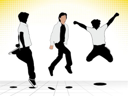 simsearch:400-04222950,k - abstract jumping boy silhouette vector illustration Stock Photo - Budget Royalty-Free & Subscription, Code: 400-05388818