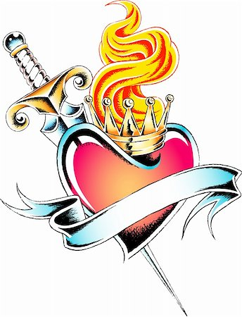 heraldic heart  tattoo emblem Stock Photo - Budget Royalty-Free & Subscription, Code: 400-05380940