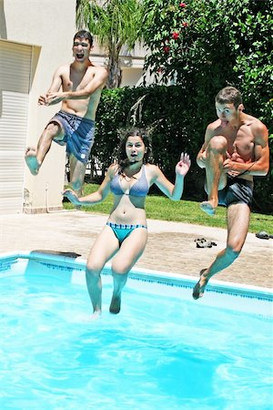 People jumping to swimming pool. Stock Photo - Budget Royalty-Free & Subscription, Code: 400-05381121