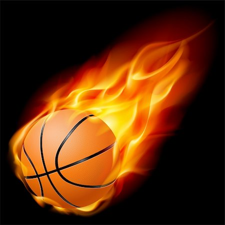 Flying basketball on fire. Illustration on black background Stock Photo - Budget Royalty-Free & Subscription, Code: 400-05381351
