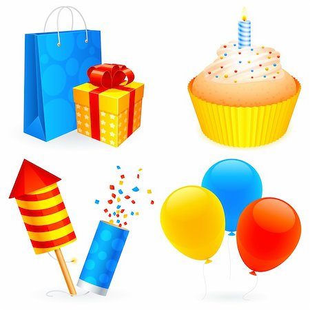 party celebration paper confetti - Set of 4 birthday icons. Stock Photo - Budget Royalty-Free & Subscription, Code: 400-05381514