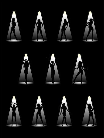 Images of beautiful models in the light of the floodlights. Vector illustration. Stock Photo - Budget Royalty-Free & Subscription, Code: 400-05381763
