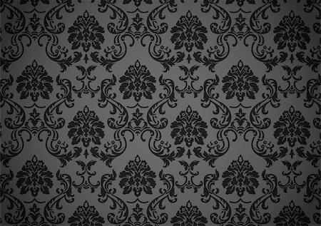 Dark baroque wallpaper, black and grey on revival style Stock Photo - Budget Royalty-Free & Subscription, Code: 400-05381871
